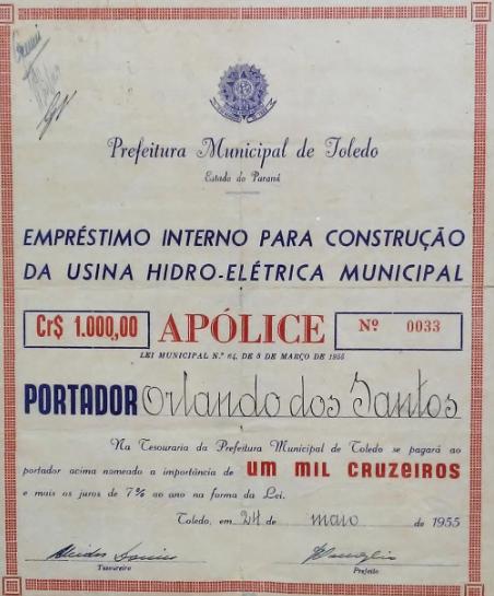 Apólice recebida pelas pessoas que emprestaram dinheiro à Prefeituras para a construção da usina.